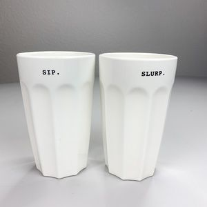 Set of 2 Rae Dunn Melamine Sip & Slurp Glasses